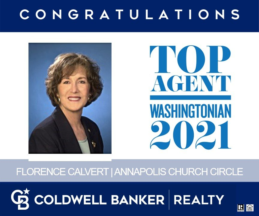 Congratulations Florence Calvert of Annapolis Church Circle Coldwell Banker realty for being voted a Washingtonian Top Agent in 2021.